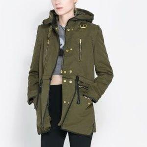 Zara Woman   Parka Olive Green   Size M